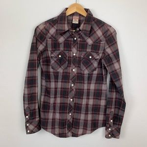 True Religion plaid flannel western shirt size med